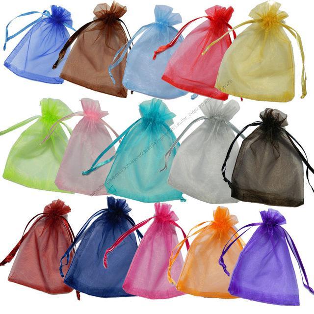 25x35 30x40 35x50cm 50 pièces Organza Bijoux Sac 19Colors cadeau de mariage Organza Bijoux Sac d'emballage d'affichage Pouches 5Z