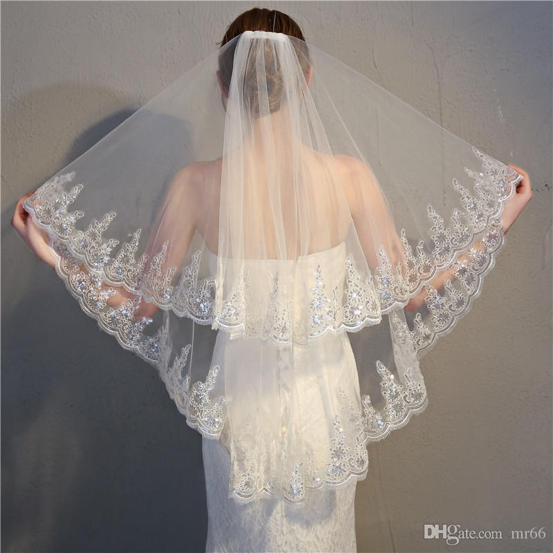 Wedding Veil Beaded Soft Tulle Bride Head Veil Paillette Dressing Decor withComb