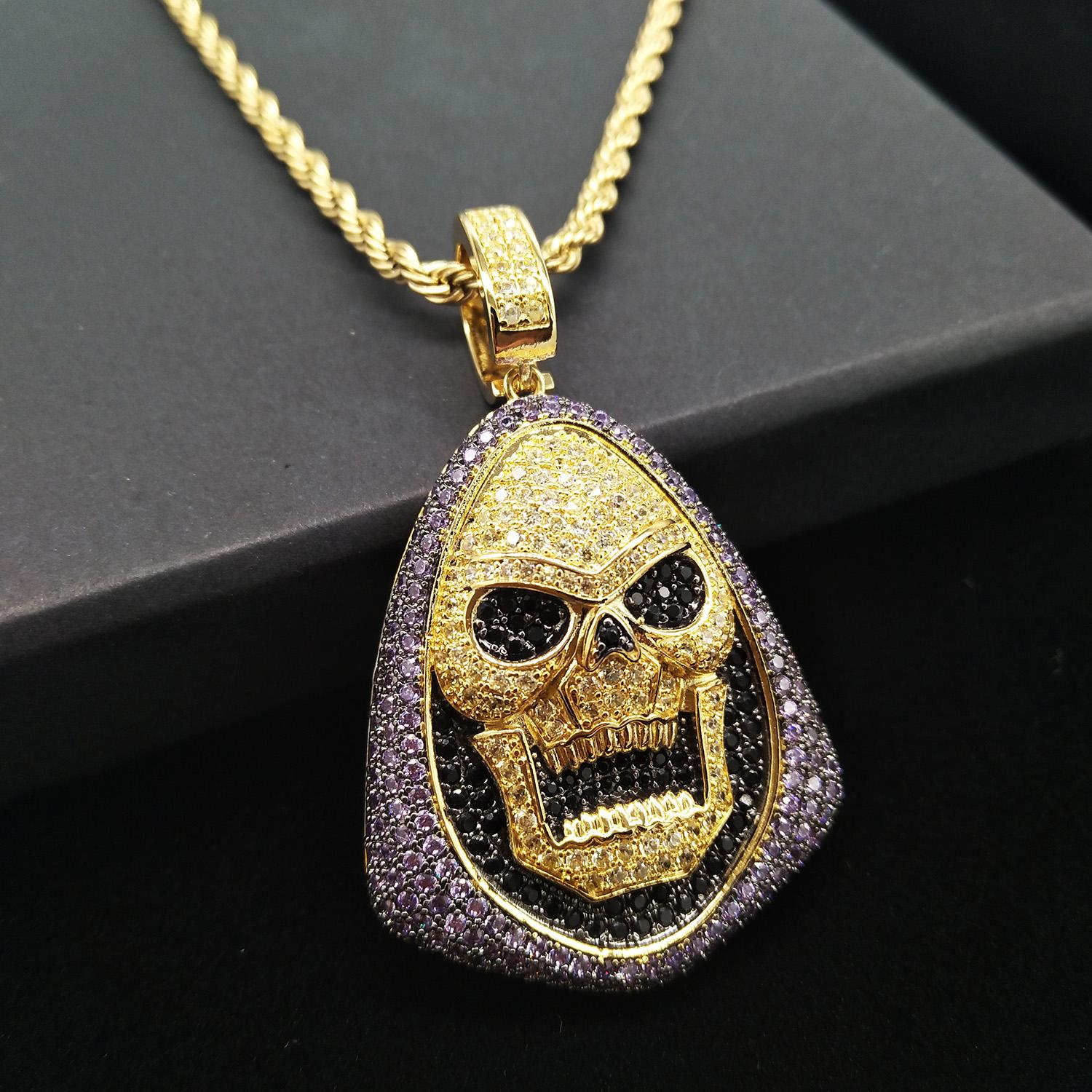Gold Bling Purple Black Diamond Skeleton Pendant Mens Chain Necklace Hip Hop Iced Out Cubic Zirconia Balentine Day Jewelry Gifts For Guys