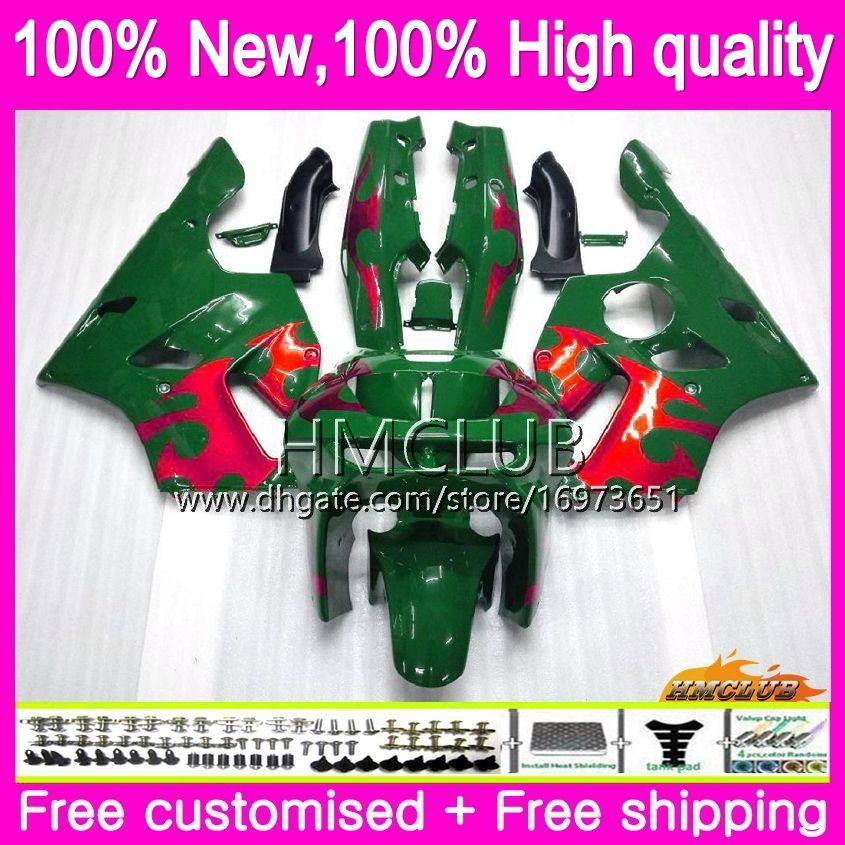 Body For KAWASAKI ZX 636 600 CC 600CC ZX6R 94 95 96 97 61HM.7 Red flames ZX600 ZX636 ZX-6R 94-97 ZX 6 R 6R 1994 1995 1996 1997 Fairings