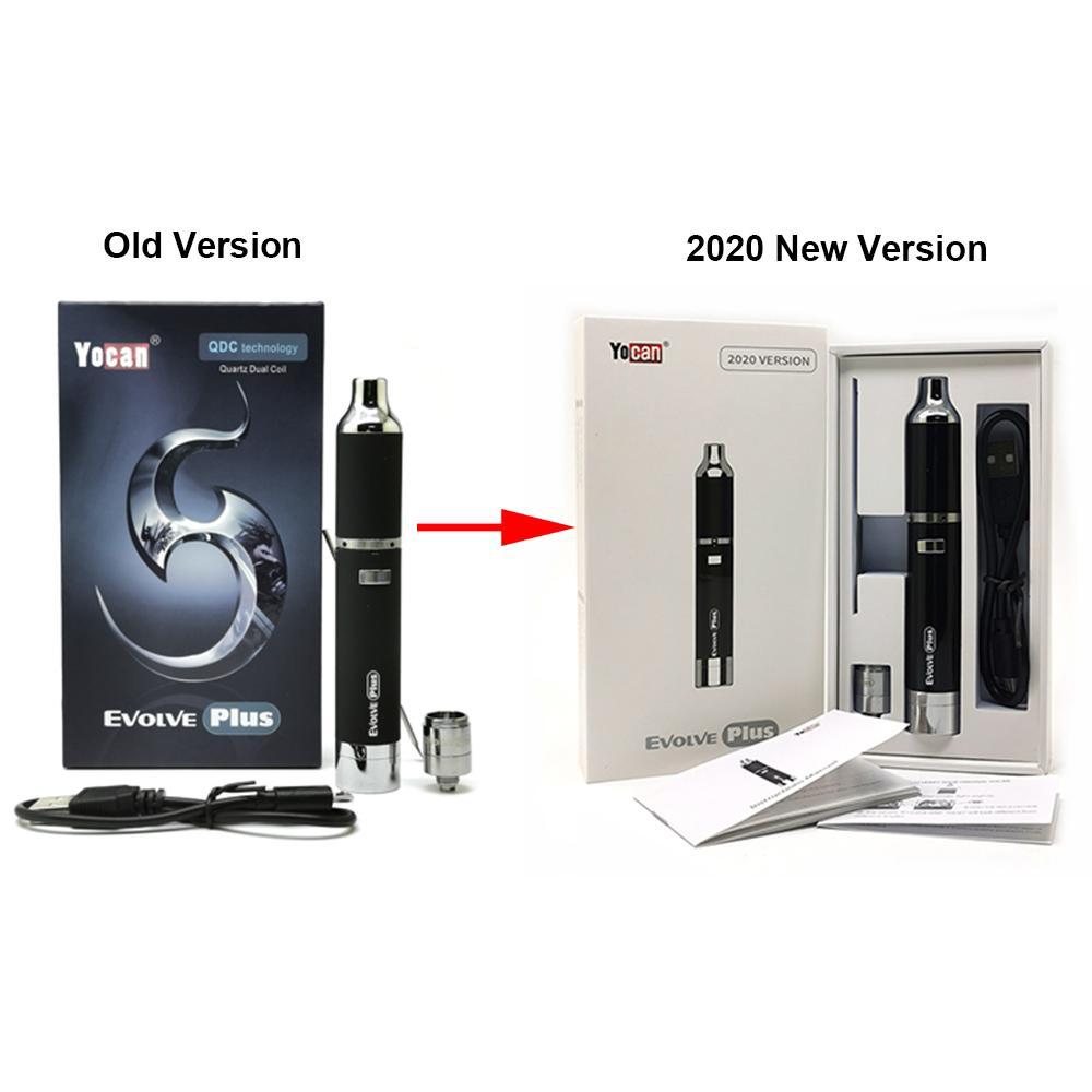 정통 Yocan Evolve 플러스 키트 1100mAh 배터리 쿼츠 듀얼 코일 QDC 전자 담배 키트 vape 펜 스톡 색 6 색