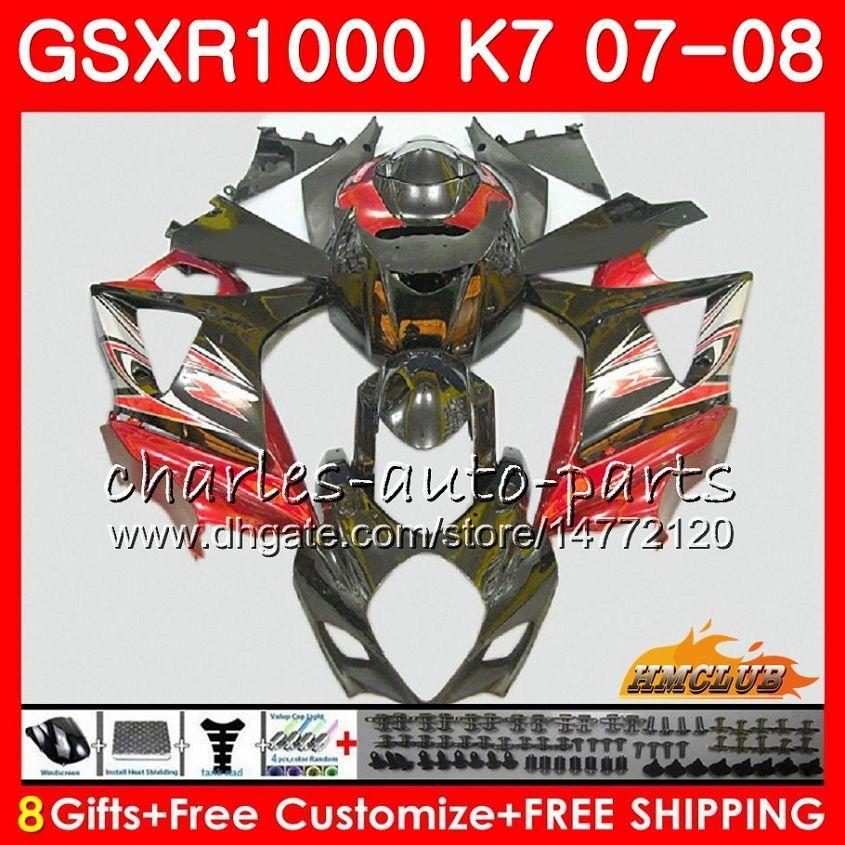 Carenatura per Suzuki GSXR 1000 GSX-R1000 K7 GSXR-1000 Dark Red Blk Hot 07 08 Bodywork 12HC.93 GSX R1000 GSXR1000 07 08 2007 2008 Kit corpo completo