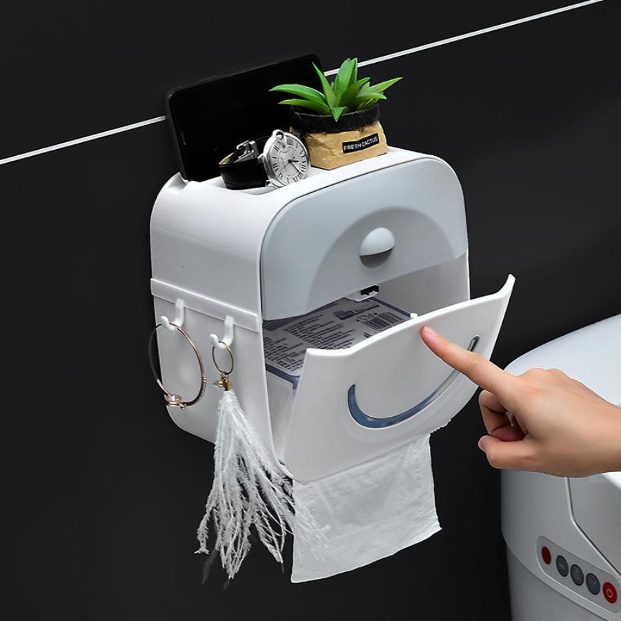 화장실 롤 홀더 방수 종이 수건 벽 롤 용지 케이스 튜브 스토리지 박스 욕실 액세서리 스탠드 장착