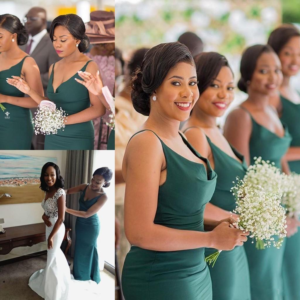 Abiti da damigella d'onore africana verde scuro Abiti da damigella d'onore 2020 Spaghetti Straps lunghezza Plus Size Maid of Honor Dress Prom Gowns