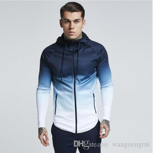 Casual Running Jacket Men Zipped Gradient Fitness Coat Hooded Jogging Hiking Sweatshirts Gym Sport Jacket Basketball Hoodies Clothing