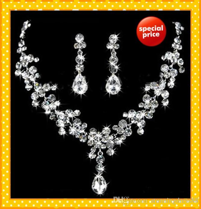 Glitter Two Pieces 2021 Wedding Bridal Jewelry 1 Set Bride Necklace Earring Water Stylish prom Evening Accessories Crystals Beading Cheap