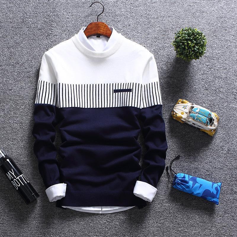 2019 Homens Marca Moda Outono Casual Striped Cotton Sweater Homens O-Neck quente 100% algodão Men malha Camisolas capuz Brasão Men T190907