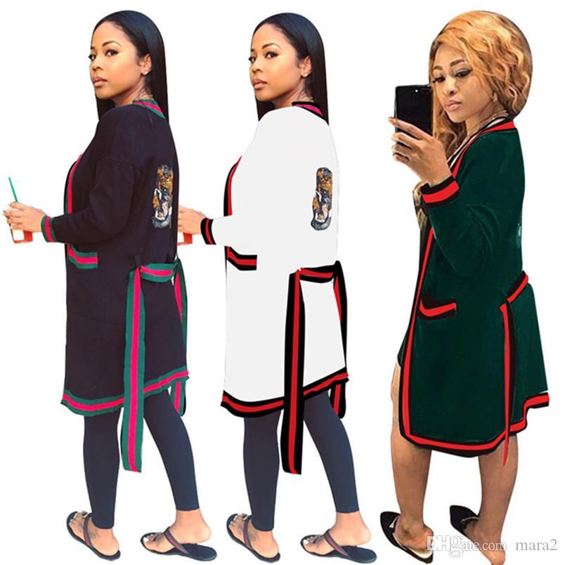 المرأة مصمم كيب سترة طويلة قميص أبلى معطف ضمادة الزنانير حزام عباءة سترة سترة طويلة الأكمام الخريف الشتاء الملابس 965