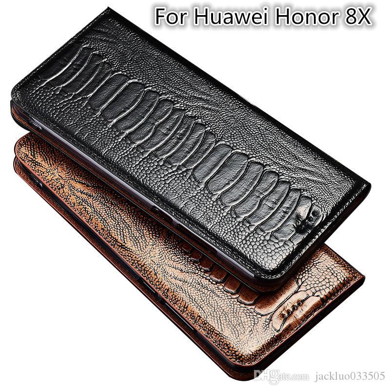 Caso di vibrazione del cuoio genuino di consistenza del piede dello struzzo per la cassa del telefono di Huawei Honor 8X per il supporto della carta del sacchetto del telefono di Huawei Honor 8X