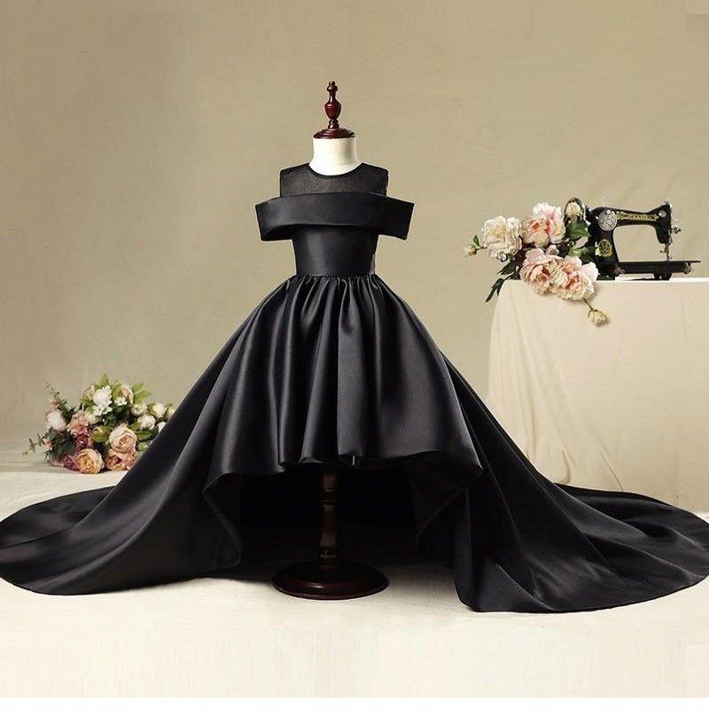 Бальное платье с цветочками для свадебного платья Черное атласное свадебное платье Pageant Платья причастия