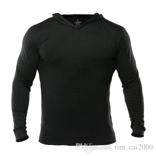 Mens Gym Hoodie Long Sleeve Bodybuilding Hoody Men Sports Suits Tank Top Muscle Shirts Cotton Sweatshirts Pullover