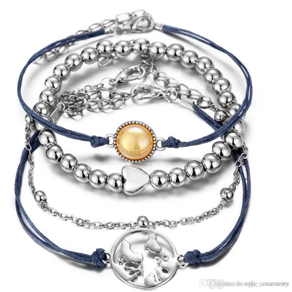 set braccialetto 4pcs pacchetto perlina filo mappa cuore fascino branello perla rotonda color argento placcato impostazione stringa catena metallica