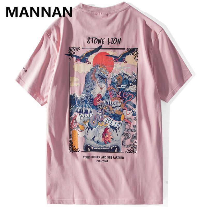 Mannan Çin Lion Baskılı Streetwear T Gömlek 2019 Mens Harajuku Hip Hop Günlük Sade Tees Erkek Pamuk Tshirts Tops