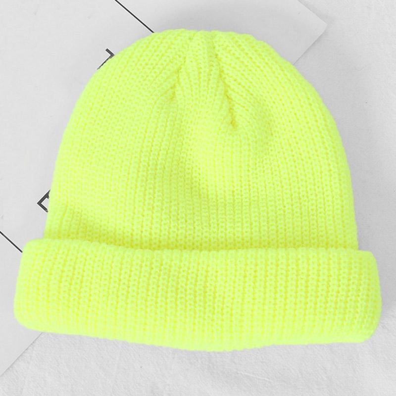 Fashion Streetwear Short Knit Beanie Patch Cuff Winter Hat for Men Women Neon Yellow Orange Pink Lavender lt.green