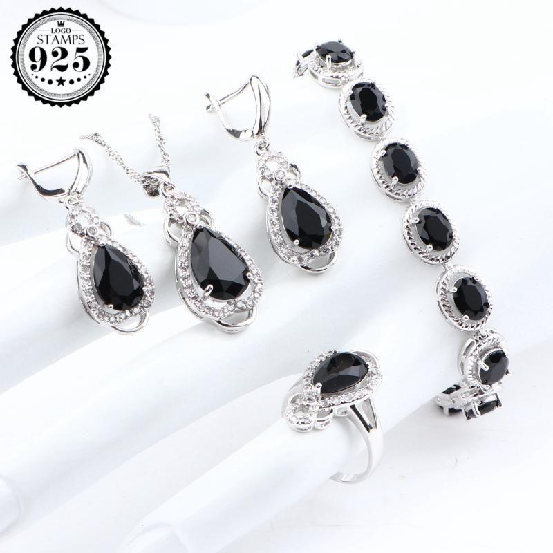 Gümüş 925 Weding Gelin Takı Setleri Taşlı Fantezi Mücevher Yüzükler Küpeler Bilezikler Pandants Kolye Seti İçin Kadınlar