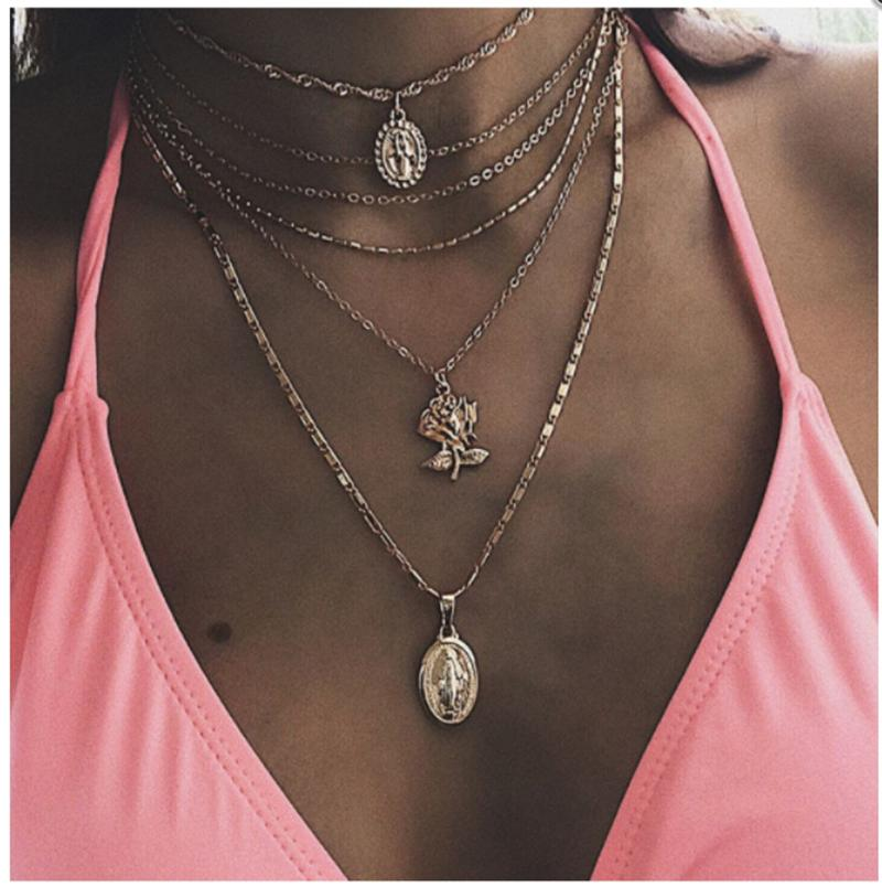 Rose Pendant Charms Multi-layer Necklace with Party Jewelry Charm Choker Necklace for Women Fashion Jewelry
