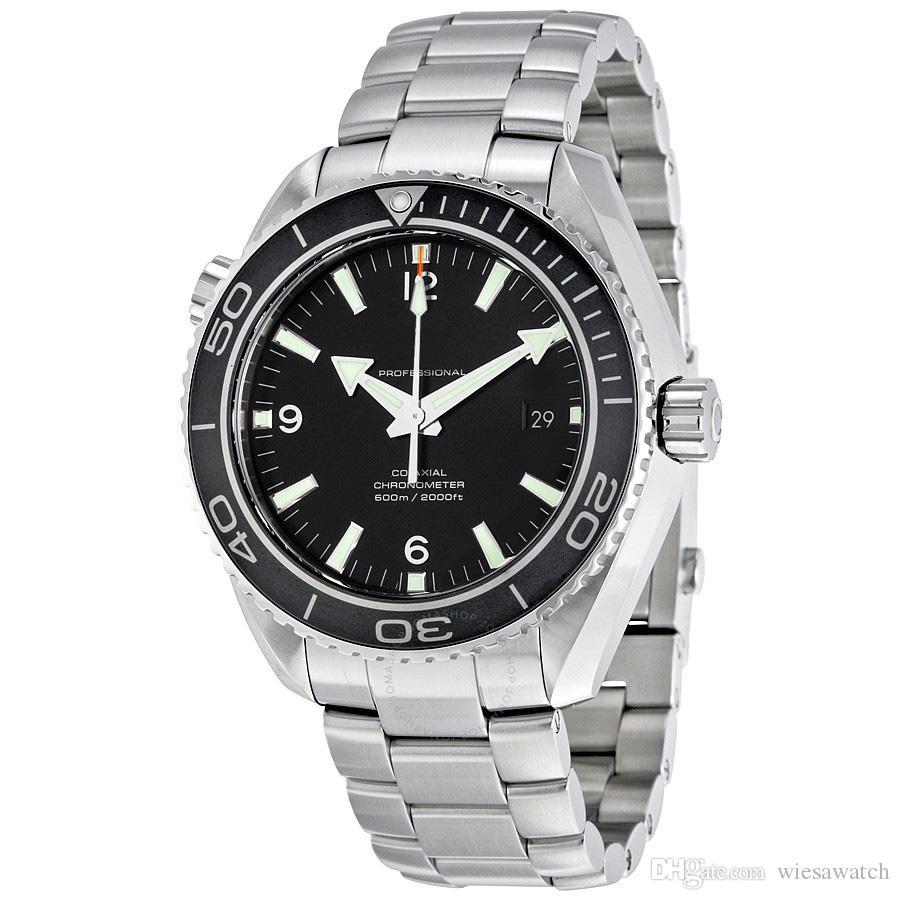 야외 마스터 스테인레스 스틸 스트랩 접이식 걸쇠 43 MM 자동 블랙 다이얼 시계 시계 손목 시계 남자 시계
