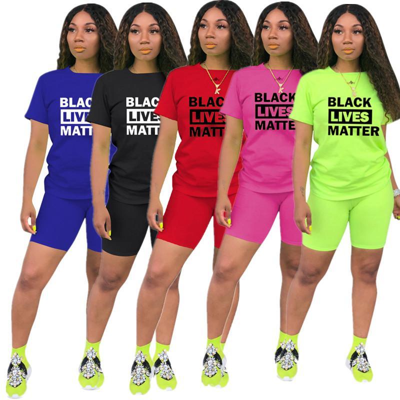 Женская мода Шорты Tracksuit Черный Lives Matter Печать Лето с коротким рукавом Футболка + шорты 2 шт Набор Наряды Спортивная Одежда Best New