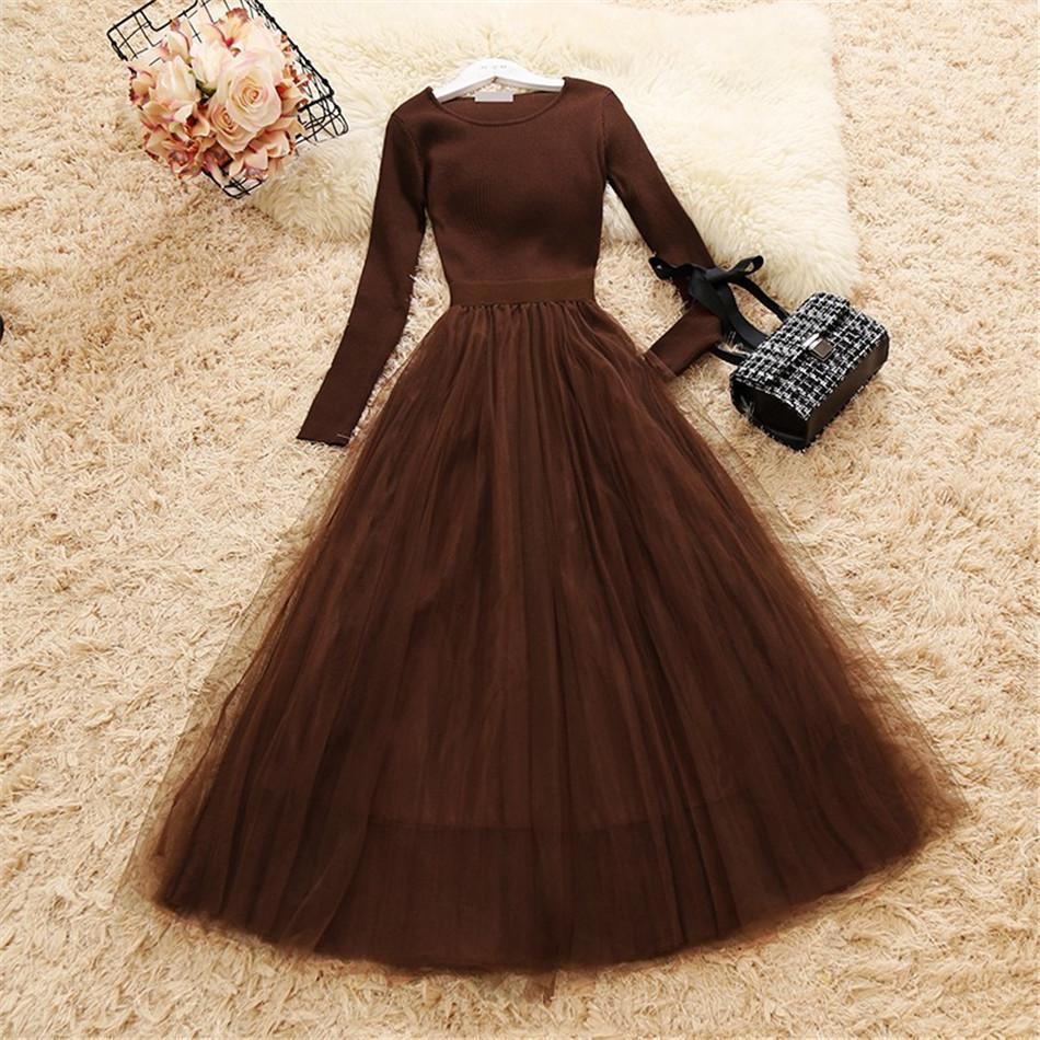 OL élégante robe patchwork maille tricotée 2020 Printemps Femmes manches longues O cou robe de bal Gaze Maxi Dress Casual Knit Une robe de ligne NZ19.11-704