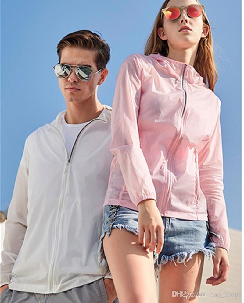 Estate anti UV Sun-prova Giacca unisex manica lunga Sun cappotto della pelle protettiva Overshirt con cappuccio Capispalla donne giacca designer Tops