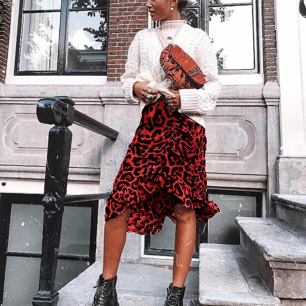 Womail Etek Kadınlar Yaz Leopard Baskı Vintage Uzun Bayan Casual Yüksek Bel Pileli Etek Moda