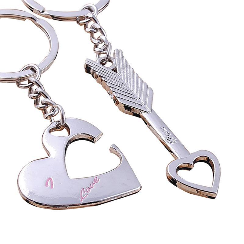 Outils portatifs Couples cadeaux Mode Home Décor Coeur Amoureux Compact Durable Porte-clés