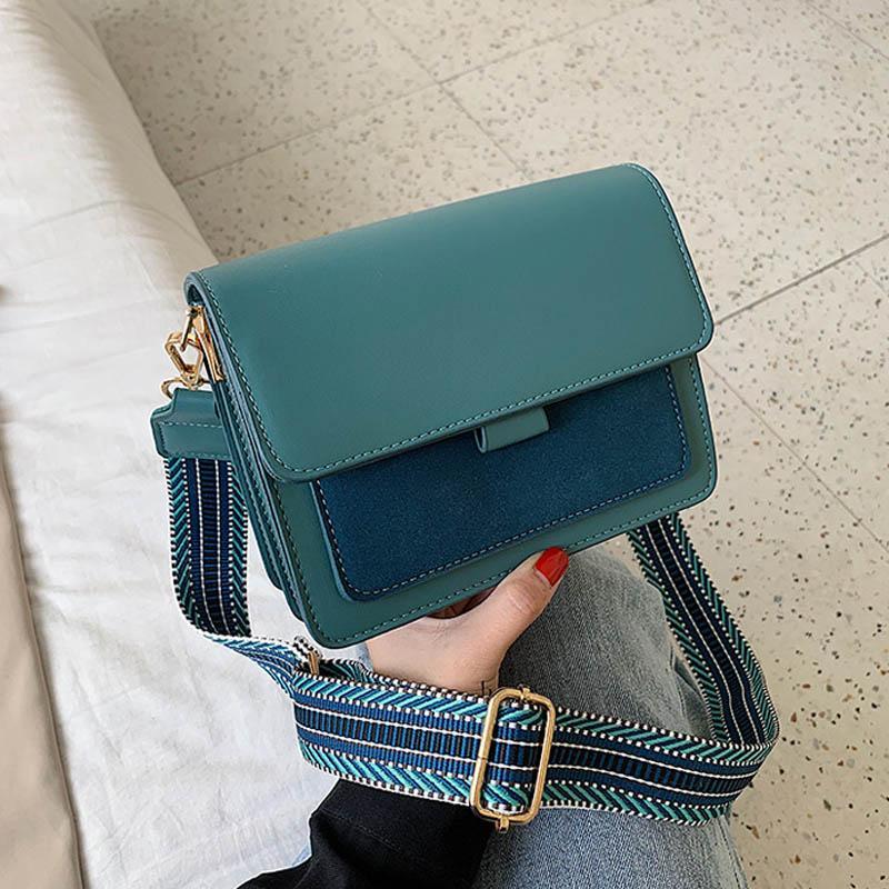Contraste da cor bolsas de couro Bandoleira For Women 2020 Viagem Handbag Moda Simples Ombro Messenger Bag Ladies Bag Corpo Cruz
