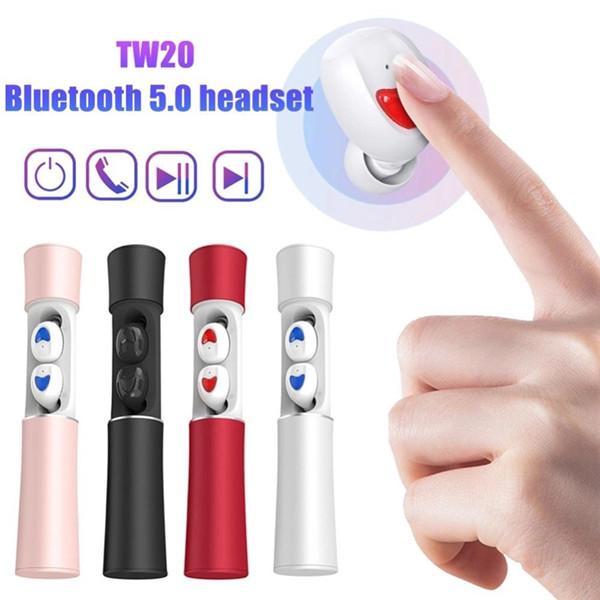 Новое поступление Беспроводная Bluetooth гарнитура TW20 бинауральный портативный BT 5.0 шумоподавление двойной вызов TWS беспроводные наушники