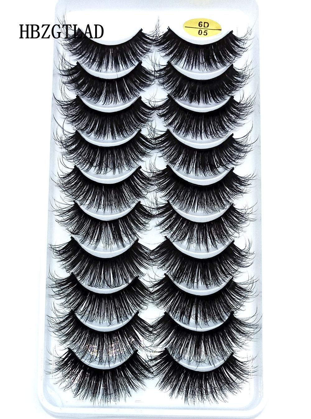 Doğal sahte kirpikler sahte güzellik için uzun makyaj 3d vizon kirpik kirpik uzatma vizon kirpiklerini kirpikleri 10 çift YENİ 6D-05