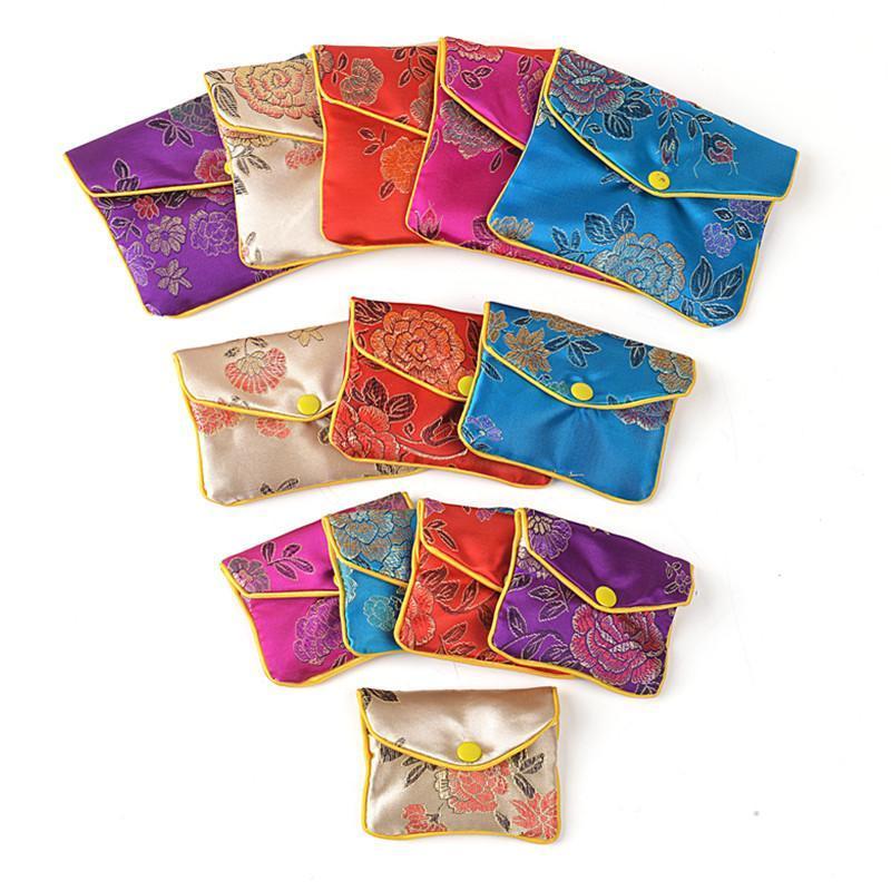 حقيبة محفظة سحاب الأزهار النقدية أكياس هدايا صغيرة لحقيبة حقيبة حرير مجوهرات حاملة بطاقة ائتمان صينية 6x8 8x10 10x12 سم الجملة 120pcs / قطعة