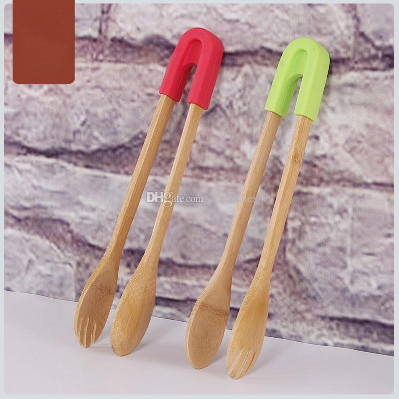 Natural Bamboo Food Clip with Silicone Handle Wholesale Bread Barbecue Clip Toaster Tongs for Kitchen Tool