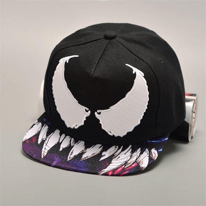 Baseball Caps moda Hip 100% algodón de bolsillo para hombres, mujeres Diablo historieta de la impresión bordada Hop estilo de los extremos casquillos ajustables unisex