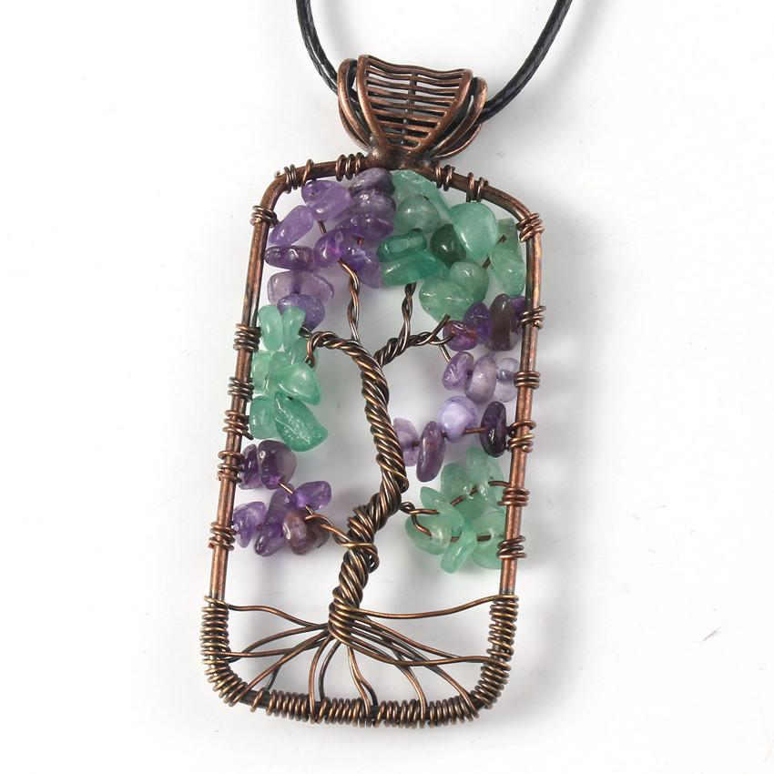 10 Pcs Copper Plated Tree of Life Rectangle Shape Pendant Rope Chain Plant Necklace Amethyst Stone Jewelry