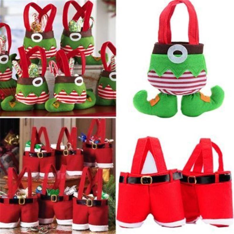 Festliche Partyangebot 1pcs Weihnachtsdekoration für Haus Sankt Hose Weihnachtsgeschenk Treat Tasche Kids Candy Bag