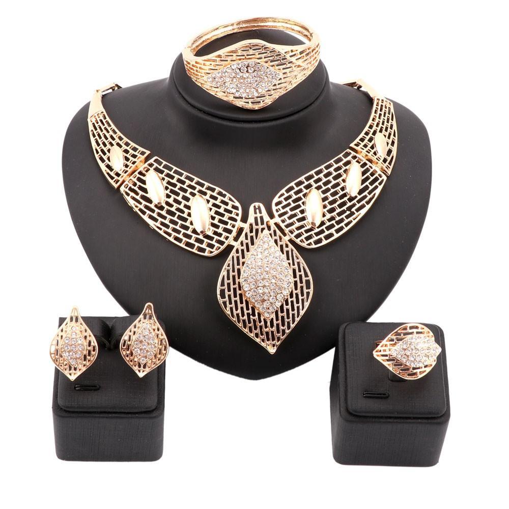 Afrikanische Schmuck Sets Frauen Hochzeit Gold Farbe Kristall Halskette Set Mode Braut Ring Armband Ohrringe Zubehör