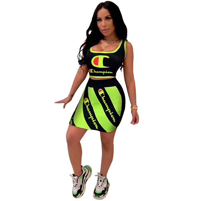 Champions Women Gonne Sets Reflective Top Crop Tank Vest + Diagonal Stripe Abiti corti Designer Tute 2 pezzi Bodycon Outfit C61905