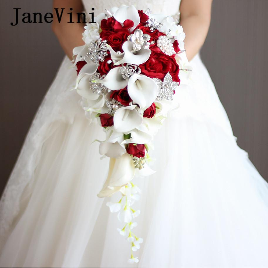 Janevini 2018 Waterfall Red Flowers Bridal Artificial Pearls Crystal Wedding Bouquets Bouquet De Mariage Rose C19041701
