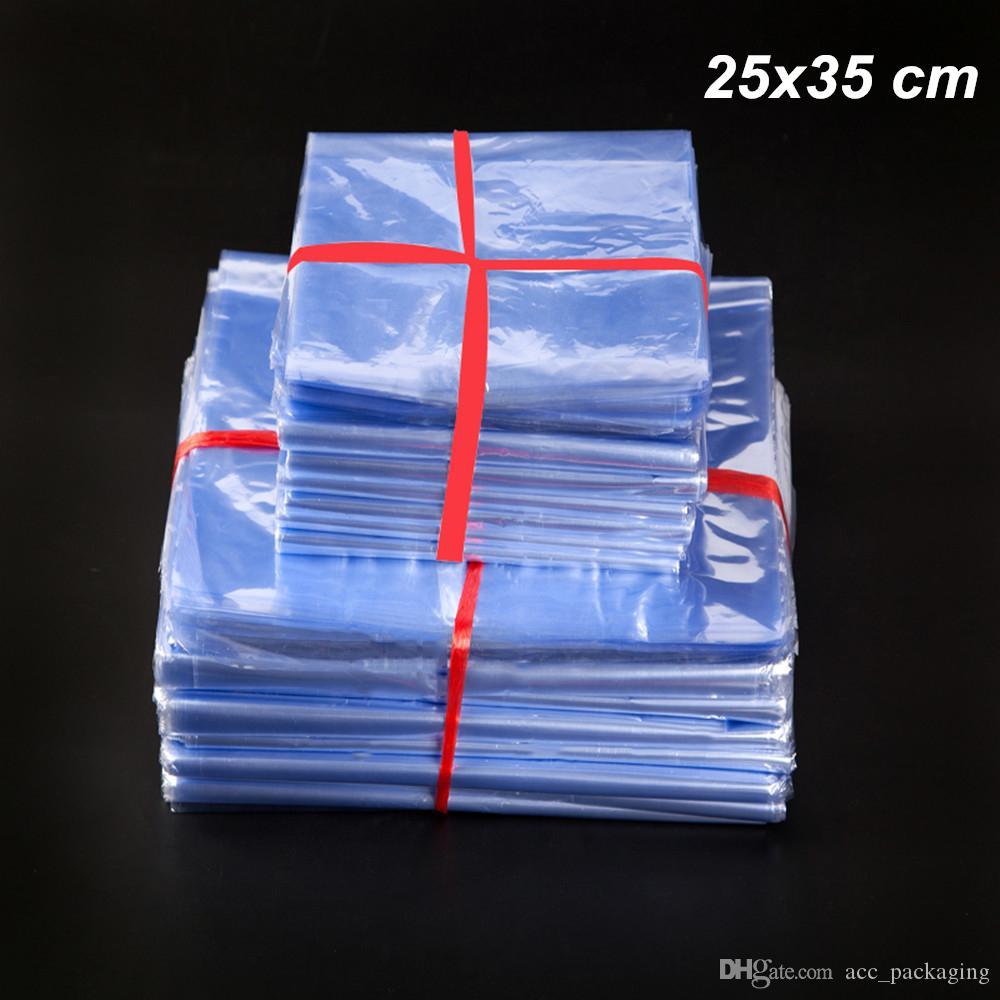 25x35cm 50 Pz Lotto PVC Film Termoretraibile Plastica Trasparente Avvolgimento Sacchetti per la casa Termoretraibile Trasparente Cibo Scarpe Cosmetici Pacchetto Poli Sacchetto
