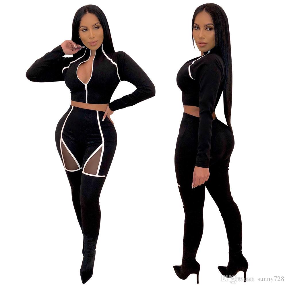 Spring Casual Stripes Women Long Sleeves Two Pieces Outfits Fashion Zipper Short Top + Skinnt Pants Mesh Patchwork Sexy Tracksuits