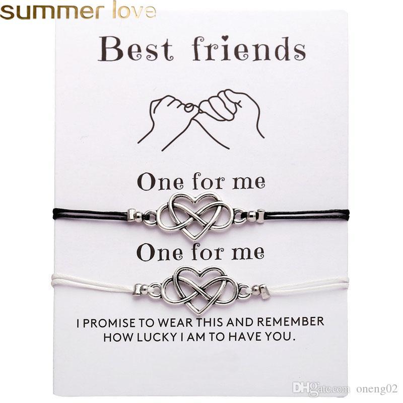 2pcs/set Fashion Heart Couples Bracelets Set For Women Men Bohemian Infinite Bracelet Bangle Best Friend Wish Card Jewelry Best Gift