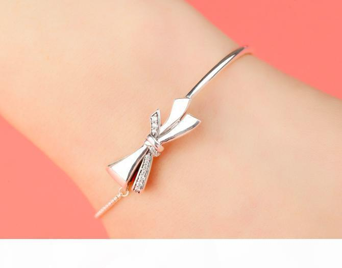 S925 Silver Girl Bracelet Bow Valentine's Day Birthday Gift New Girl Diamond Japan and South Korea