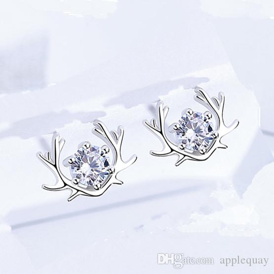 original 925 sterling silver earrings stud woman's jewelry lady animal christimas deer angle small exquisite bijouterie fashion 10x7mm 6pair