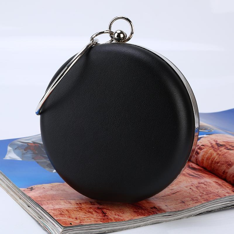 Wholesale handmade pretty PU evening bag round shape simple clutch with satin for wedding banquet party porm brides maids