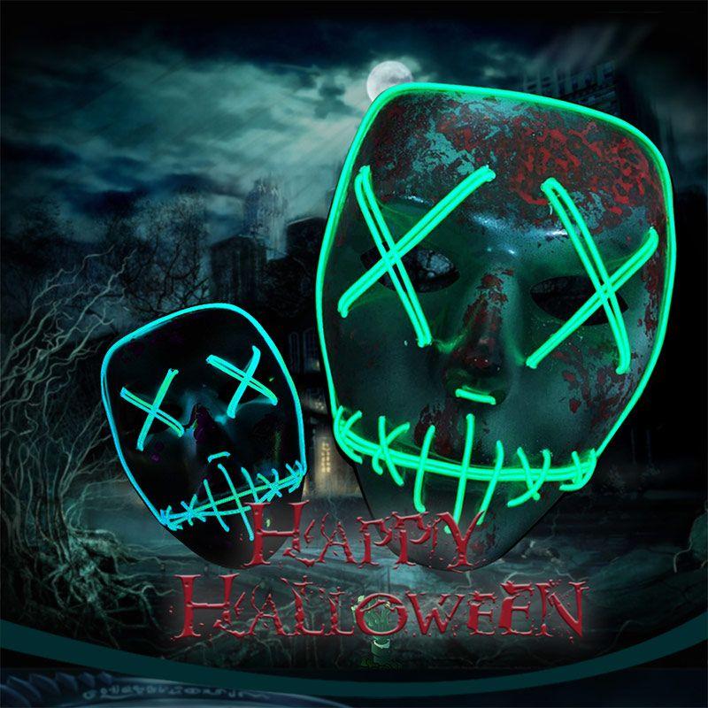 BRELONG Led Mask Halloween Party Masque Маскарадные маски Неоновая маска Светящаяся в темноте тушь для ресниц Ужасная маска Светящаяся маска