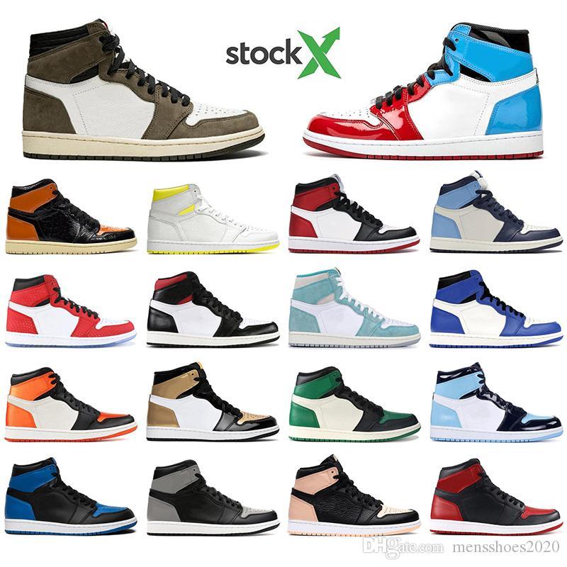 Nike AIR Jordan 1 Mit Socken der Männer Basketballschuhe 1s Obsidian UNC Fearless First Class TURBO GREEN 1 zerschmetterten Backboard Top-Qualität sports Turnschuhe Trainer