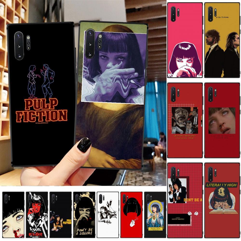 OFFeier PULP FICTION TPU noir Phone Case Cover Coque Pour Samsung A50 S10 plus S10E Note9 Note8 7 10 Pro