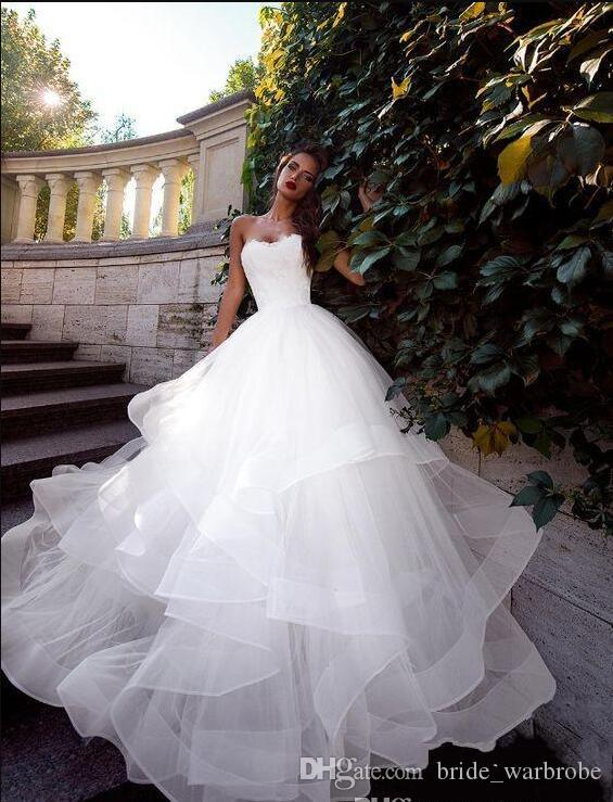 2019 New Autumn Sweetheart vestido de novia White Wedding Dresses Ruched lace Tulle Sweep Train Corset Lace-Up Back Simple Bridal Gowns