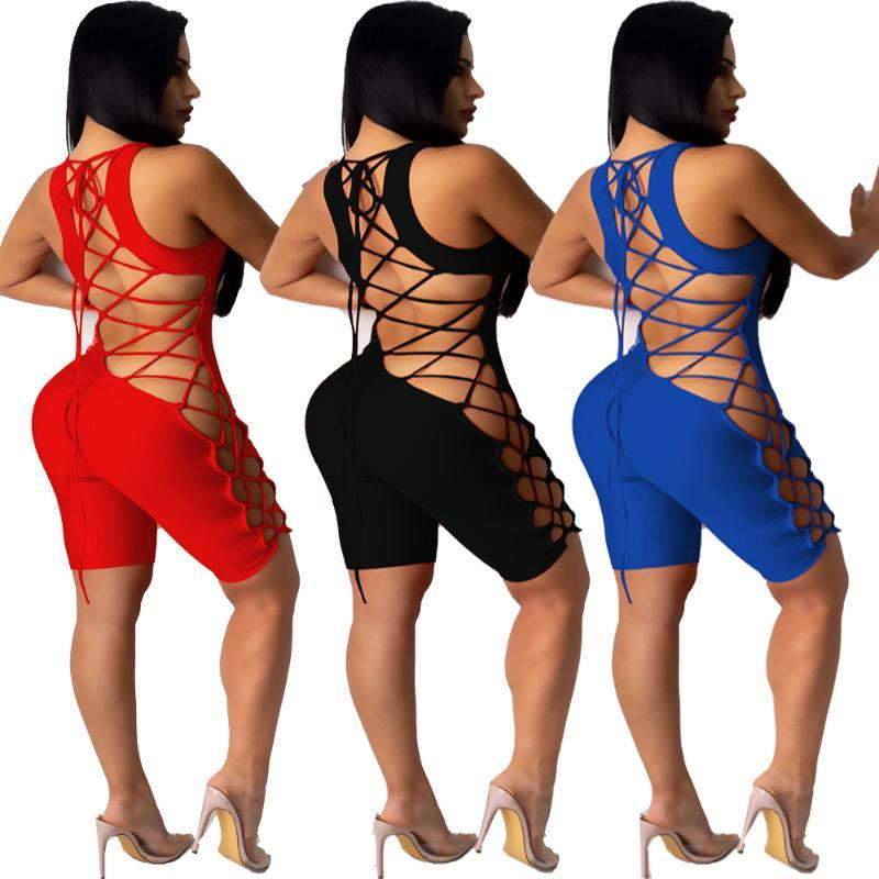 Women's Jumpsuits & Rompers Solid-color Leggings, Backless Club Jumpsuits, Sexy, Deep V-neck, Halter Back, Shorts, Tracksuits, Etc
