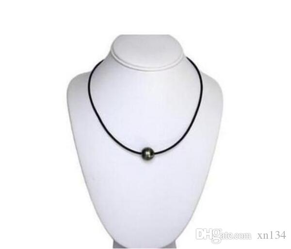 Free Shipping 12mm Natural Tahitian Black Pearl Necklace Leather Details