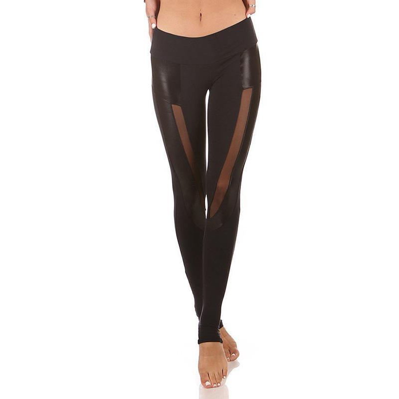 Hot New Sports Sexy Pu Imitation Leather Splicing Yoga Pants Mesh Sports Leggings Fitness Pants Women Ggipu
